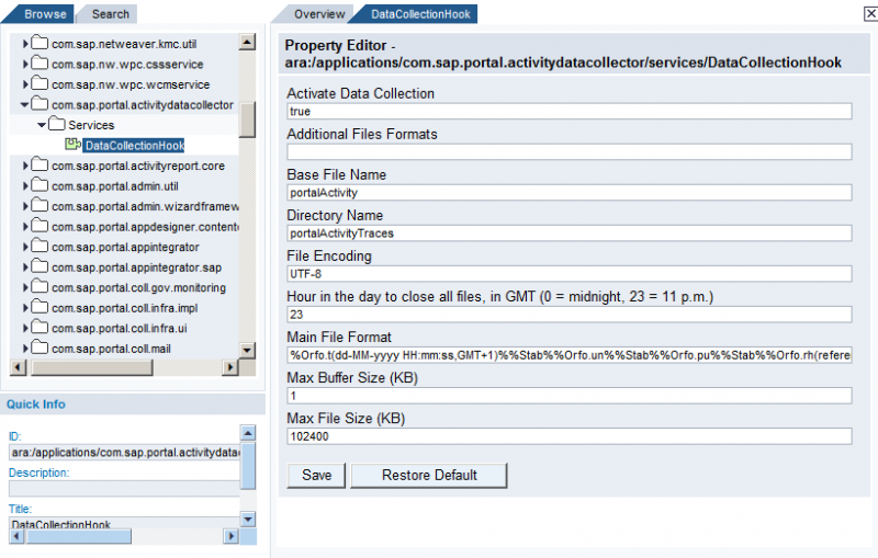 Activity Data Collector Properties on NW 7.0 Portal