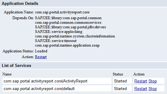 SAP Portal Activity Report Service Status on NW 7.0 Portal
