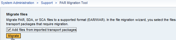 How to add files from imported transport package in NW 7.30 Par Migration Tool