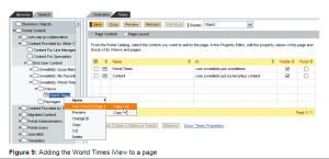 Content Administration for adding the World Times iView to any page